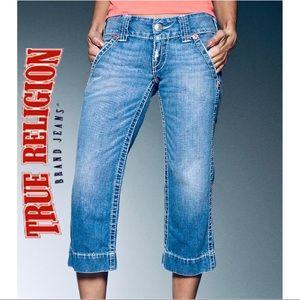 TRUE RELIGION Sammy Big T Cropped Capri Jeans